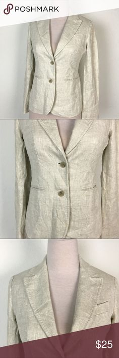 """J Crew Blazer Jacket Ivory  100% Linen Sz 4 J22 Have a gently used J Crew women's jacket. This blazer is a very light beige color, made with 100% linen. Lining is 63% polyester, 35% cotton. Sleeve lining is 100% acetate. 2 button front with 3 pockets on the outside, 1 is by design only. Coat is in excellent condition. Please see pictures. Women's Size 4, but please refer to measurements. These are taken by hand with the garment laying flat:  Shoulder - 16"""" Sleeve - 24"""" Pit to Pit…"""
