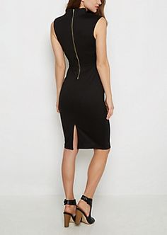 Black V-Neck Bodycon Midi Dress