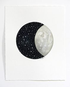 Moon and Stars 10 - Original Contemporary Astronomy Art, Watercolor Painting - As Seen On DESIGNLOVEFEST - by Natasha Newton