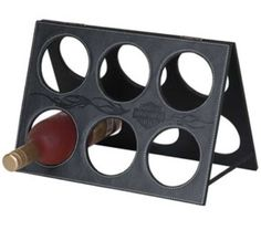 Harley-Davidson Leatherette Wine Rack Black Leather tabletop wine rack holds 6 bottles, embossed with the Harley Davidson shield and tribal flames design.