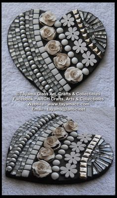 Mosaic Heart - White -https://www.facebook.com/groups/TayamaCrafts/