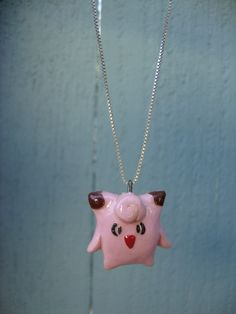 Pokemon Necklace- Clefairy Polymer Clay Charm. Only $15.00, via Etsy!