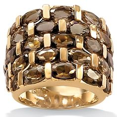11.85 TCW Oval-Cut Genuine Smoky Quartz 18k Yellow Gold over Sterling Silver Tiered Ring