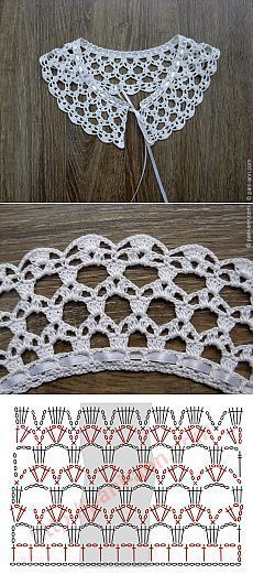 "Really pretty collar,and one of the easier ones to crochet! [ ""Really pretty collar,and one of the easier ones to crochet!"", ""Ez is gallér"", ""Crochet lace with chart"" ] # # # # # # # # # Crochet Collar Pattern, Col Crochet, Crochet Lace Collar, Crochet Diagram, Crochet Chart, Thread Crochet, Crochet Motif, Crochet Designs, Crochet Doilies"