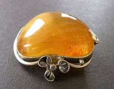 Vintage amber silver brooch pin art Deco antique Baltic