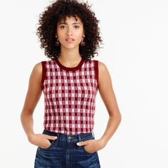 Italian featherweight cashmere shell in gingham