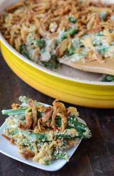 The Best Green Bean Casserole updated with fresh green beans etc. Holiday Cooking or BBQ side Veggie Side Dishes, Vegetable Dishes, Side Dish Recipes, Vegetable Recipes, Potato Recipes, Bean Recipes, Greenbean Casserole Recipe, Casserole Recipes, Best Green Bean Casserole