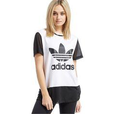 adidas Originals Trefoil T-Shirt ($40) ❤ liked on Polyvore featuring tops, t-shirts, adidas originals, adidas originals t shirt, mesh tee, mesh top and white mesh top