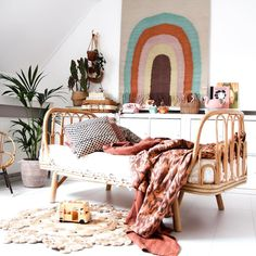 the boo and the boy Boho Nursery, Nursery Room, Rainbow Wall, Kidsroom, Happy Weekend, Baby Design, House Rooms, Boho Decor, Room Inspiration