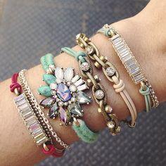 Mix + Match your fave bracelets! #jewels #bohojewelry #bohemian #stonejewelry #stackablerings #stackablebracelets #summeraccessories