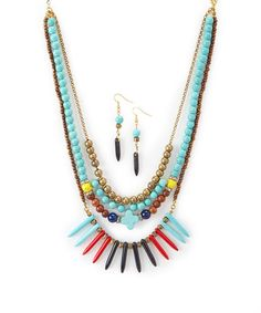 Another great find on #zulily! Turquoise & Gold Beaded Triple-Strand Bib Necklace & Earrings #zulilyfinds