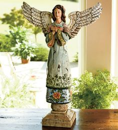 Wind & Weather is your source for garden & home décor, whimsical to elegant. Colorful wind spinners and chimes, weather instruments, wall art, sculptures & Clay Angel, Handmade Angels, I Believe In Angels, Wind Spinners, Black And White Painting, Angel Statues, Angels Among Us, Angel Ornaments, Angel Art
