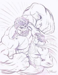 Hulk vs Superman by Ed McGuinness Comic Art