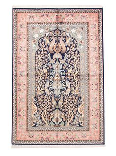 Hand knotted from very precious pure silk about 40-50 years ago in the valley of Srinigar in northern India. No longer produced today, this rug is considered vintage and extremely valuable. 100% silk! $1,425