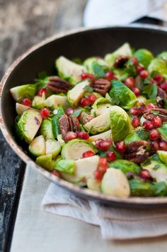 Brussels Sprouts with Toasted Pecans and Pomegranate Seeds