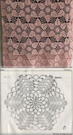 "diy_crafts-Bonito motivo de crochê ""Crochet lace tablecloth square with flower and diamonds motif. Many beautiful filet crochet valances, curtain Crochet Motif Patterns, Crochet Diagram, Crochet Chart, Thread Crochet, Crochet Stitches, Knitting Patterns, Crochet Designs, Scarf Patterns, Crochet Bedspread"