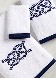 Bias Trim Embroidered Nautical Knot Towel Set