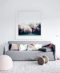 grey couch minimalist... I like this aside from the big weird dumbbell