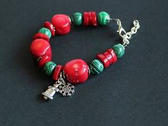 Red christmas bracelet Coral malachite stone by TanBorzoShop