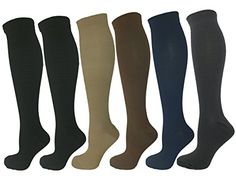 6 Pair Large/X-Large Ladies Compression Socks, Medium Compression 15-20 mmHg. Assorted Colors (2 Black, 1 Tan, 1 Grey, 1 Blue, 1 Brown). Therapeutic, Occupational, Travel & Flight, Knee-High * Check out the image by visiting the link.