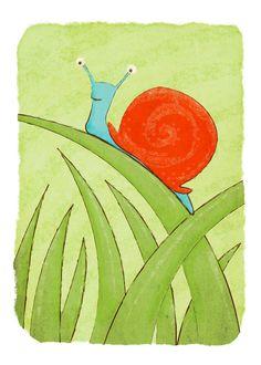 Insect Art Print - Snail - Children's Wall Art Nursery Decor