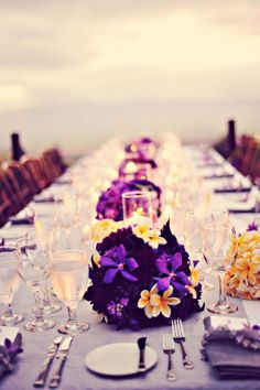 Table Setting: Love the long family style table instead of round ones. Also the small centerpieces instead of big tall ones!
