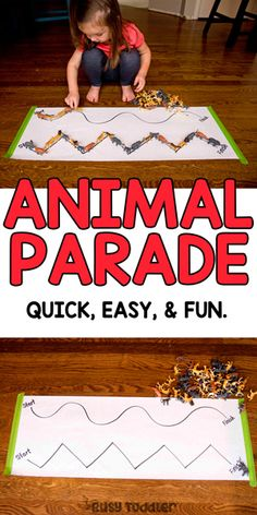 Animal Parade Toddler Activity - Busy Toddler : Animal Parade Toddler Activity Make an animal parade toddler activity! This quick and easy indoor activity is perfect for rainy days. Grab those animal toys and get them on parade! Farm Activities, Motor Skills Activities, Toddler Learning Activities, Indoor Activities, Animal Activities For Kids, Zoo Animal Crafts, Zoo Crafts, Leadership Activities, Animal Games