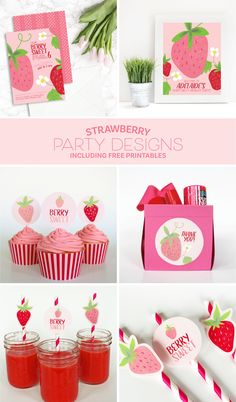 Strawberry birthday party ideas with free printables.