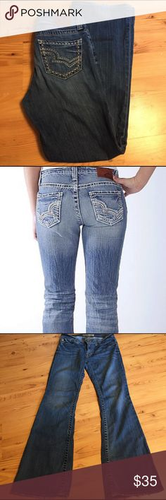 """Big Star Maddie Mid rise Great pair of jeans! Inseam 32"""". Across waist 16"""". Across hem 9""""...I think these are Bootcut. Cotton spandex blend. 2nd pic is only for reference of how these fit!! These are a darker wash! Big Star Jeans Boot Cut"""