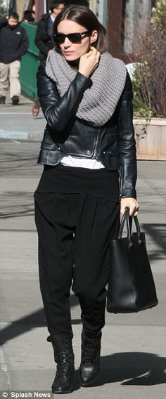 Biker babe: Rooney Mara dressed in a simple but fashion forward biker look in New York on Thursday