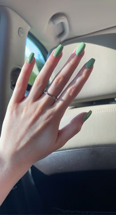 Simple Acrylic Nails, Nail Ideas, Green, Nail Art Ideas