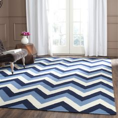 Dhurries Navy / Light Blue Chevron Area Rug | Wayfair