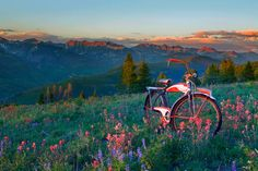 """Gore Range by Todd Van Fleet  - No bike should spend its life on the sidewalk. That's why Todd Van Fleet rescues bikes, """"Snapping the shutter is the easy part. Finding the bikes is where the real adventure begins."""" Toddrescues old cruiser bikes from the corners of barns, sheds, and attics; then straps them to his back and hikes to far-flung, lonely landscapes giving each bike a story in a photo.Todd's ...Click any image and read more and see more. Tags: bike,bikes,cycling,bicycling,riding,"""