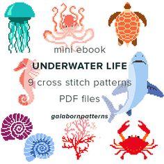 ebook 9 cross stitch patterns, Underwater Life, PDF xstitch patterns, modern cross stitch, Crab, Coral, Seahorse, Shark, galabornpatterns