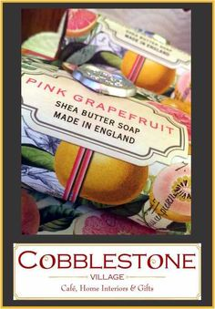 Pink grapefruit is this years hottest scent, stop in to Cobblestone Village: Cafe, Home Interiors & Gifts today!v #grapefruit #spa #refreshing