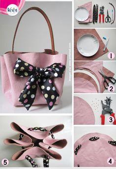 How to make no sew handbag tutorial Leather Bags Handmade, Handmade Bags, Autumn Leaves Craft, Handbag Tutorial, Beginner Sewing Patterns, Circle Purse, Paper Purse, Diy Clutch, Bridal Clutch