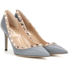 Valentino Rockstud Leather Pumps (£510) ❤ liked on Polyvore featuring shoes, pumps, grey, grey pumps, leather pumps, grey leather pumps, gray pumps and grey shoes