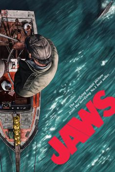 Jaws by Sam Gilbey - Home of the Alternative Movie Poster -AMP- Best Movie Posters, Movie Poster Art, Cool Posters, Horror Movie Posters, Cinema Posters, Posters Vintage, Vintage Movies, Classic Horror Movies, Classic Films