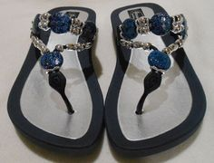 6df44388d7b29 GRANDCO SANDALS Beach Pool THONG DENIM Dressy BLING FROSTED Jeweled Flip  Flops