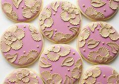Pink-gold-wedding cookies