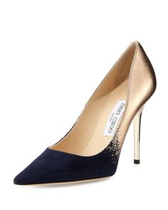 S06A3 Jimmy Choo Abel Degrade Point-Toe Pump, Navy/Nude