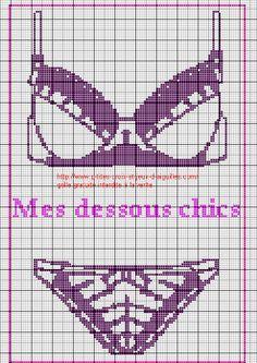 0 point de croix lingerie soutien gorge et culotte - cross stitch bra and knickers