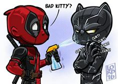 "Why Deadpool has to make an appearance in an Avengers movie! - Lordmesa Art — ""Bad Kitty"" L That's not how you beat. Marvel Dc Comics, Bd Comics, Marvel Vs, Funny Comics, Deadpool Funny, Marvel Funny, Marvel Memes, Deadpool Images, Deadpool Chibi"
