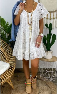 Dressy Casual Outfits, Comfortable Outfits, White Outfits, Simple Dresses, Short Dresses, Summer Dresses, White Linen Dresses, White Casual Dresses, Boho Fashion
