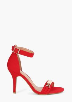 Nametag Heels in Red and Gold