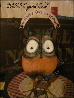 Primitive whimsy Halloween Owl Doll country decor Farm by emsprims, $20.00
