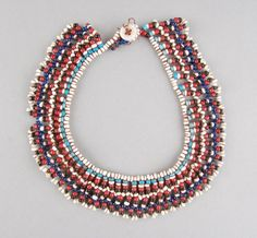 Personal ornament made of fibre, beads (glass). Necklace Types, Beaded Necklace, Necklaces, Xhosa, African Trade Beads, How To Make Ornaments, British Museum, Love Letters, African Art
