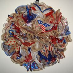 Ruffled Patriotic Burlap Mesh Wreath Patriotic by StarlightWreaths
