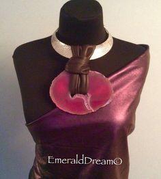 Fuchsia - Leather and Gemstone Necklace unisex leather Chocker leather jewelry leather bib necklace statement jewelry unisex jewelry