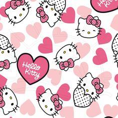 Tecido Estampado para Patchwork - Hello Kitty Hearts (0,50x1,40) - Bazar Horizonte